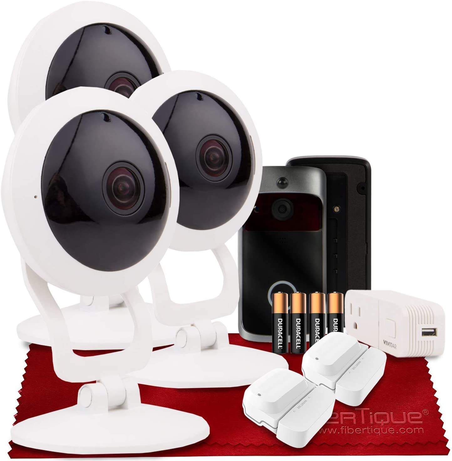 Vivitar IPC117 360 Wide Angle 1080p HD Wi-Fi Smart Home Security Camera W/ iOS/Android App (x3) + Vivitar Wireless Doorbell, WiFi Door Sensor (x2), Mini WiFi Outlet & AAA Batteries (x2)