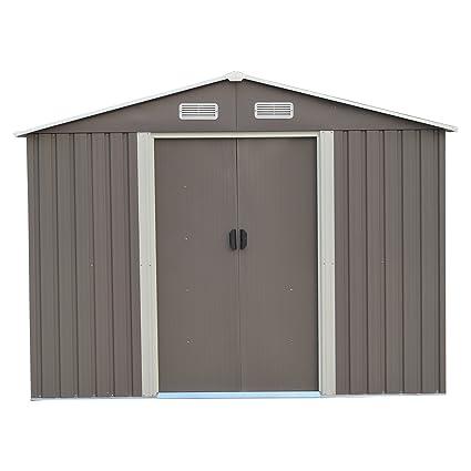 Amazon.com: KOOLWOOM - Cobertizo de acero para jardín al ...