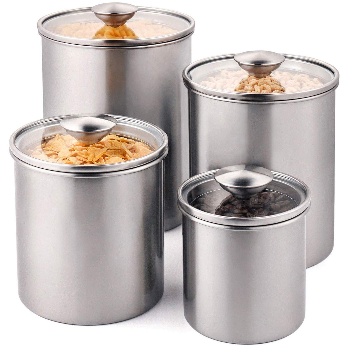 Deppon Airtight Canister Set, 4-Piece Stainless Steel Food Storage Container with Tempered Glass Lids for Kitchen Counter Coffee Tea Nuts Sugar Flour