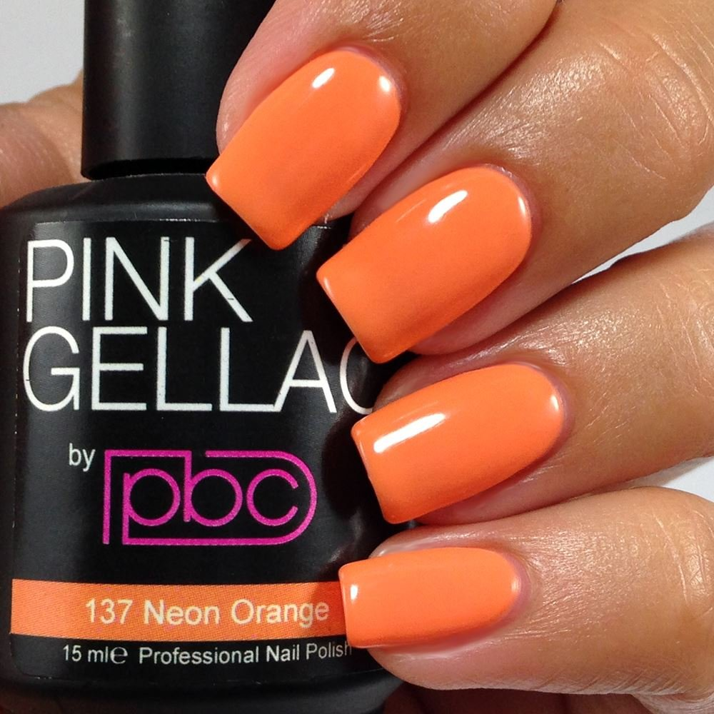 Pink Gellac Neon Orange 15ml Gel Nail Polish: Amazon.co.uk: Beauty