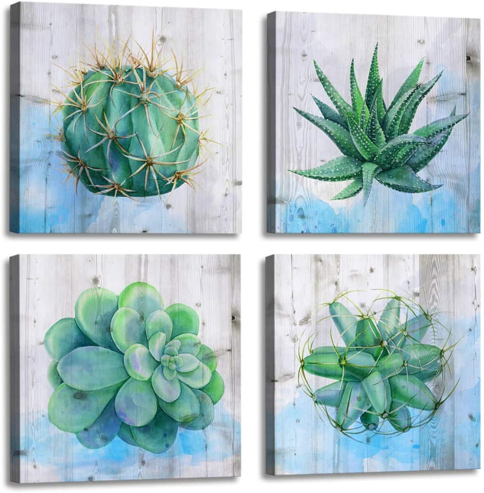 Wall Art for Living Room Cactus and Succulent Plants Watercolor Painting Office Wall Decor - 4 Panels Canvas Artwork Framed Art Giclee Green Wall Art Canvas Prints for Bathroom Home Decor 4pcs/set