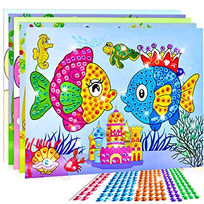 4 Pieces DIY Crystal Diamond Stickers Painting Mosaic Puzzle Educational Children\'s Toys,Preschool Kid Education -Boy Girl Baby Toddler - Learning Kit - Educational Idea Three Four Five Year Old: Toys & Games [5Bkhe1006285]