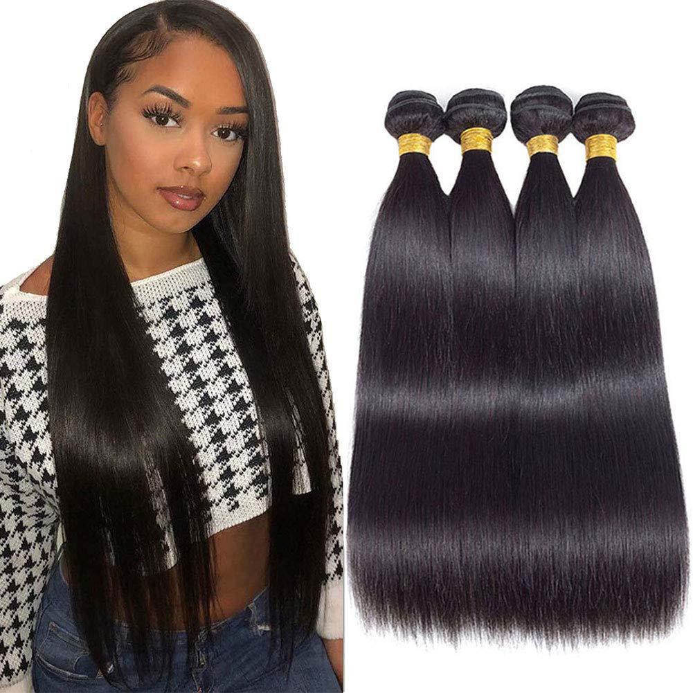 "10A Brazilian Virgin Straight Hair 4 Bundles 16"" 18"" 20"" 22"" Brazilian Straight Human Hair Bundles 100% Unprocessed Virgin Remy Hair Bundles Natural Color"
