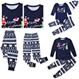 Weixinbuy Women Men Kids Baby Pajamas Set Letter Printed Crewneck Christmas Sleepwear Pjs Set for Family Matching Clothes