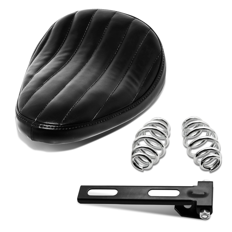 Black Motorcycle Leather Solo Seat Springs Mounting Bracket Kit for Harley Sportster XL 883 1200 Bobber Chopper Custom Application