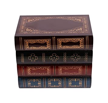 Waahome Wooden Book Box Decorative Storage Boxes For Girls Women Men Gifts Home Decoration 6 3 Lx 4 3 Wx5 2 H