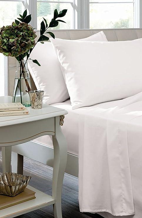 Par de sábanas bajeras de polialgodón y percal para camas de tamaño individual, doble,