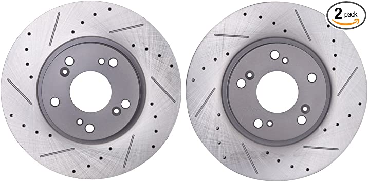 For 2007-2012 Acura RDX Front Rear Black Drill Slot Brake Rotors+Ceramic Pads