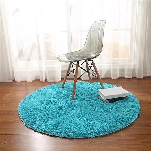 CAMAL Alfombras, Redonda Material de Lana de Seda Artificial Alfombras de Yoga para Sala de Estar Dormitorio y Baño (Azul, 100cm)