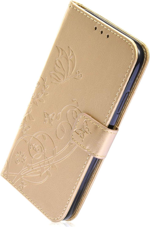 Herbests Kompatibel mit Samsung Galaxy J3 2018 Handy Schutzh/ülle Schmetterling Blumen Lederh/ülle Leder Handyh/ülle Brieftasche Tasche Bookstyle Leder Handytasche Flip Case Cover,Schwarz
