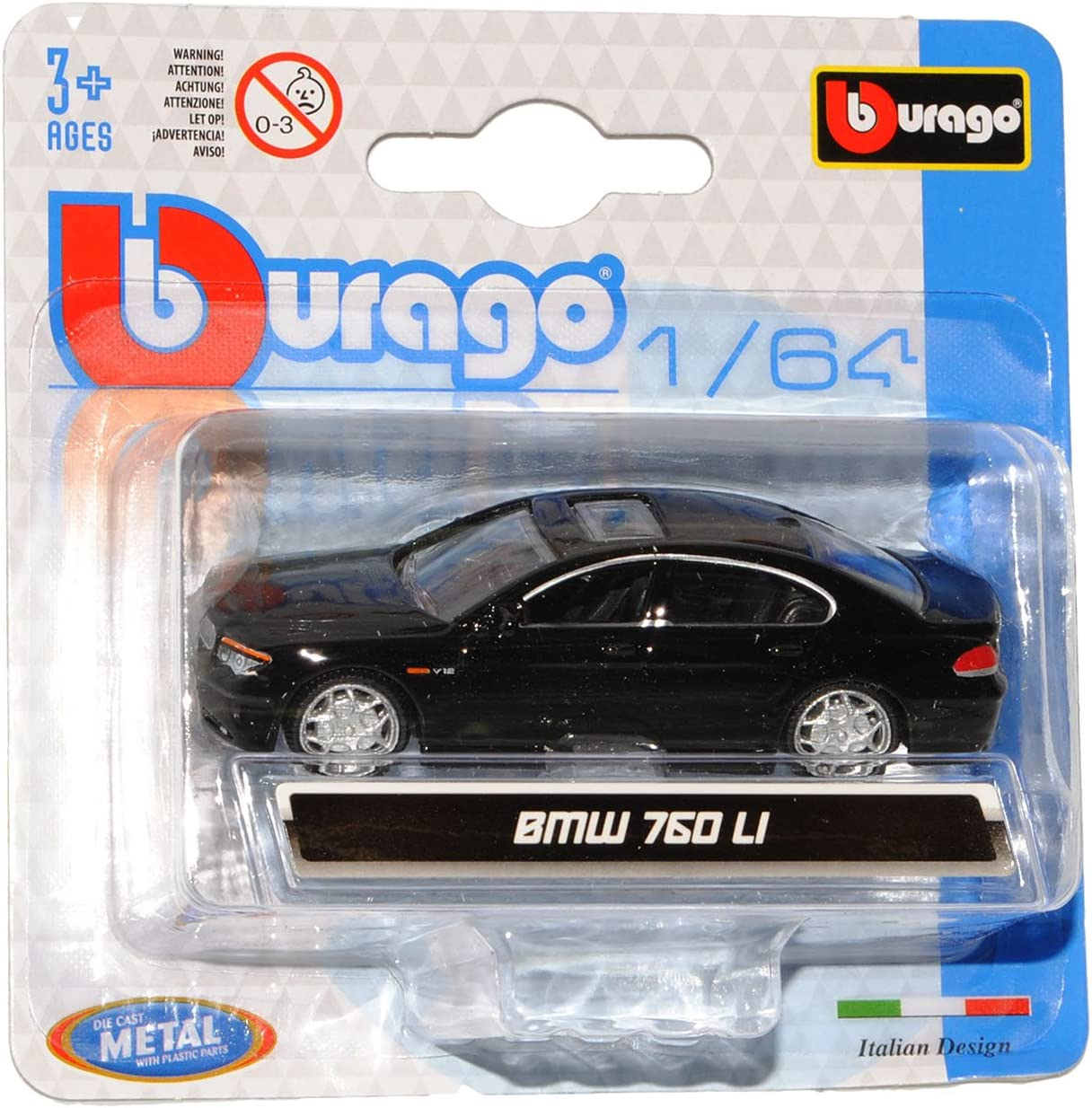 B-M-W 7er E65 760 LI Limousine Schwarz 2001-2008 1//64 Bburago Modell Auto