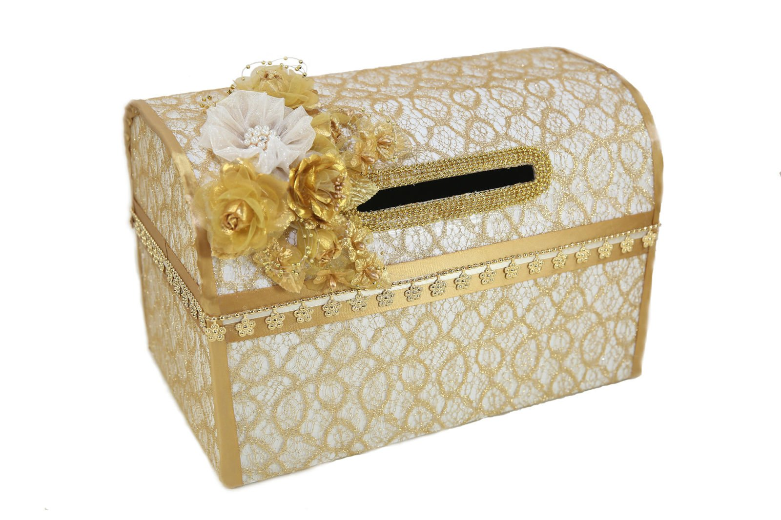 Wedding Money Box Card Box Gift Card Holder Wedding Box White Gold Flower Box Wedding Card
