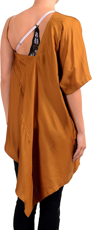 Maison Margiela 1 Womens 100/% Silk Brown Loose Asymmetrical Top US S IT 40