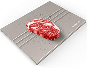 Vameritik Defrosting Tray, Magic Thawing Tray for Frozen Meat, Rapid Defrosting Plate Board, Beautiful Designed Quick Frozen Food Thawing Plate, No Electricity Meat Defroster Tray, Light Golden Brown.