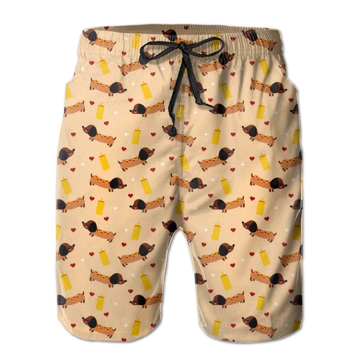 VIRTUALSHELF Mens Swim Trunks Weiner Dog Quick Dry Drawstring Surfing Beach Board Shorts with Pockets