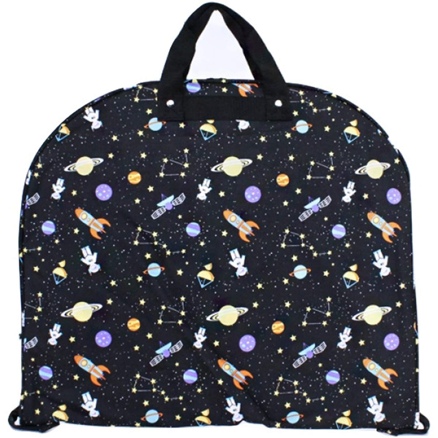 Galaxy Print Outer Space Garment Bag Travel Luggage Black