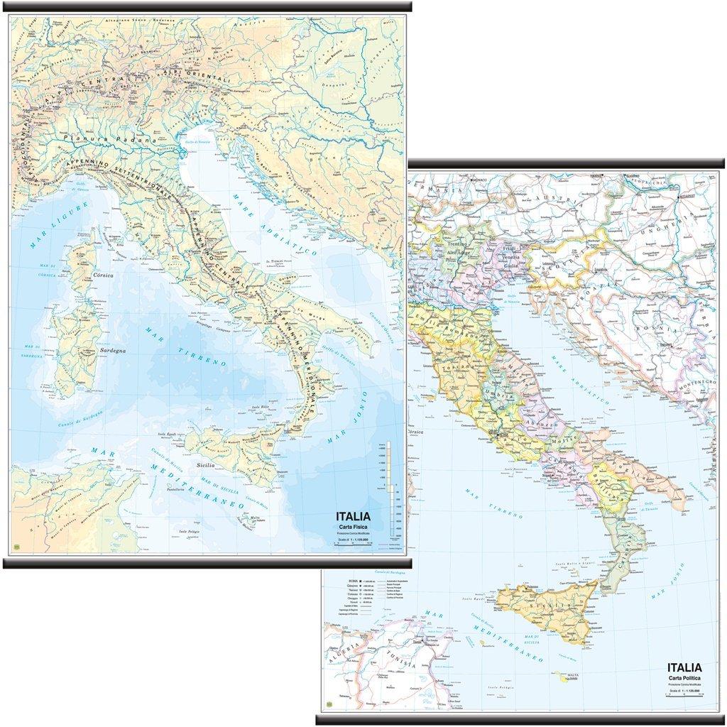 Cartina Politica Italia Formato A3.Carta Geografica Murale Fisica E Politica Italia Belletti 97x134 Cm Ms01pl Mappe Cancelleria E Prodotti Per Ufficio