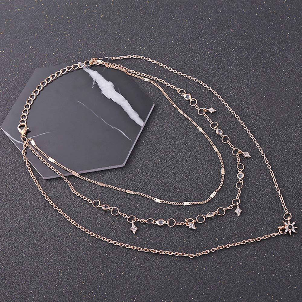 Vektenxi Durable Bohemia Crystal Star Choker-Halskette f/ür Damen Europa und Amerika Multi-Layer-Choker