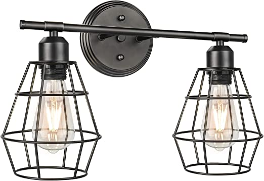 2-Light Bathroom Vanity Light Fixture, Industrial Wall Sconce Lighting with Metal Cage, Vintage Matte Black Bath Wall Mounted Lights, Farmhouse Porch Wall Lamp for Mirror Kitchen Living Room Workshop