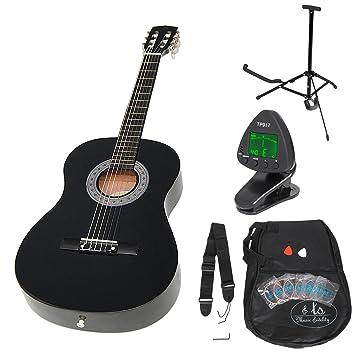 Guitarra clásica para niños completa con accesorios. Calidad Estándar. NEGRA. Tamaño 3/4.: Amazon.es: Instrumentos musicales