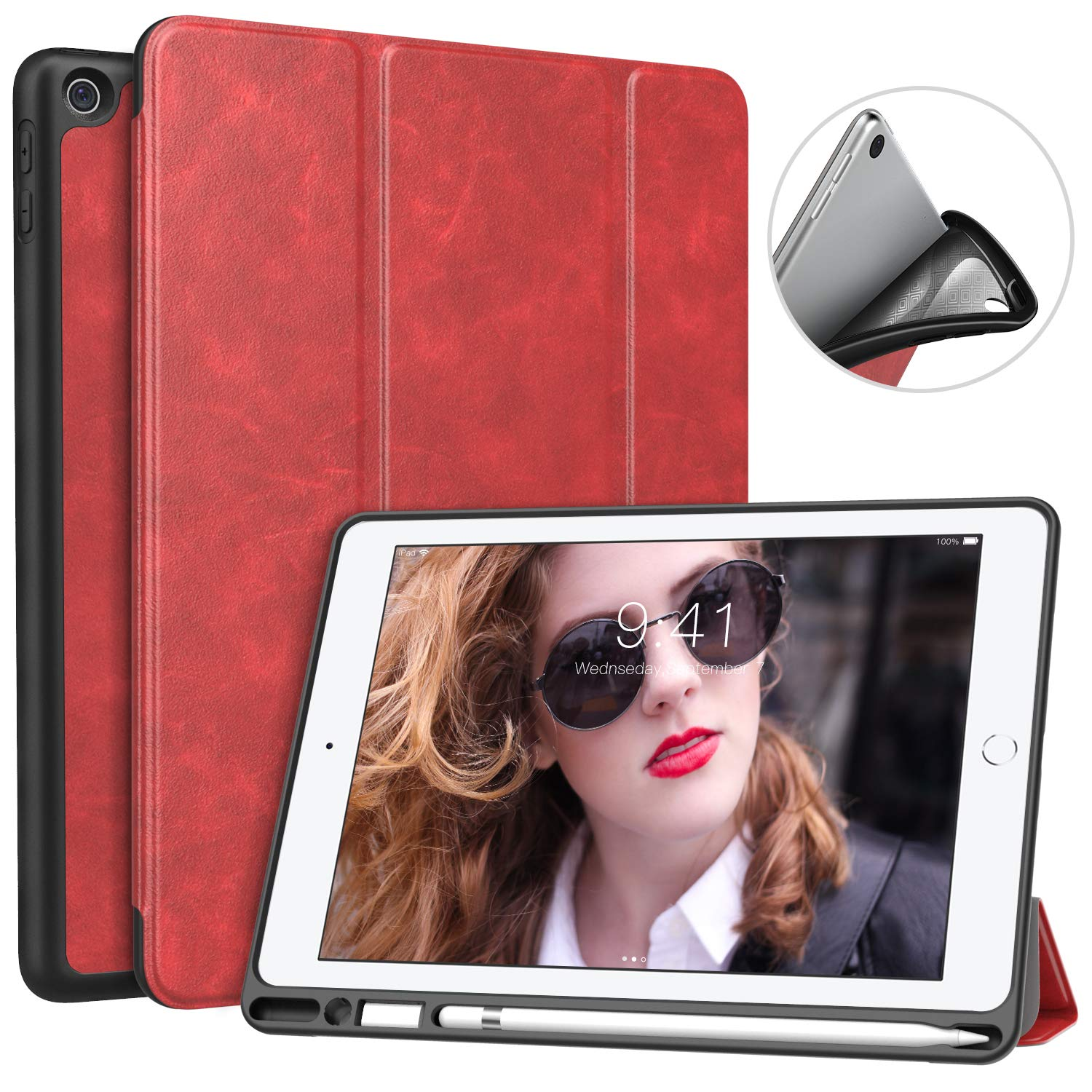 MoKo Case for iPad 9.7 2018 with Apple Pencil Holder - Slim Lightweight Smart Shell Stand Cover Case with Auto Wake/Sleep for Apple iPad 9.7 Inch 2018 Released Tablet (A1893/A1954), Black Moko Cases 736313054101-0730