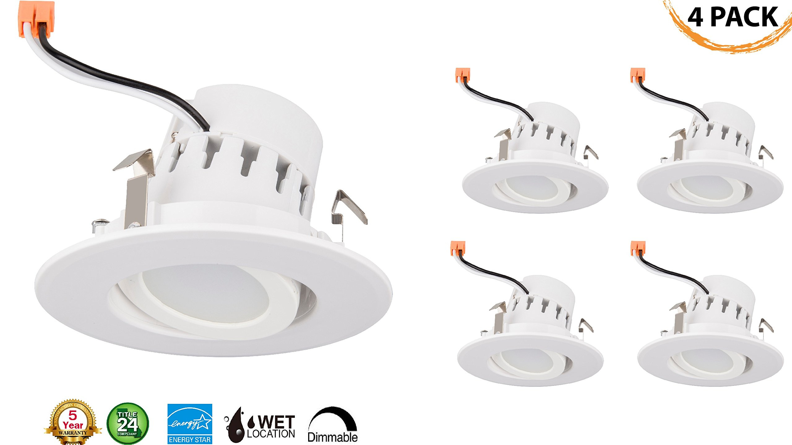 4'' Inch LED Gimbal Adjustable Rotating Downlight 10W= (75w Equivalent) Wet Loaction Rated; 25,000 Life Hours; Dimmable; 5 YR Warranty; DAYLIGHT 4000K- (4 PACK
