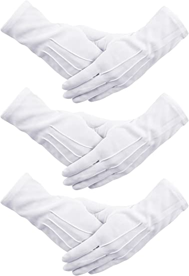 Men Women White Formal Gloves Tuxedo Guard Parade Inspection Fancy Dress Working