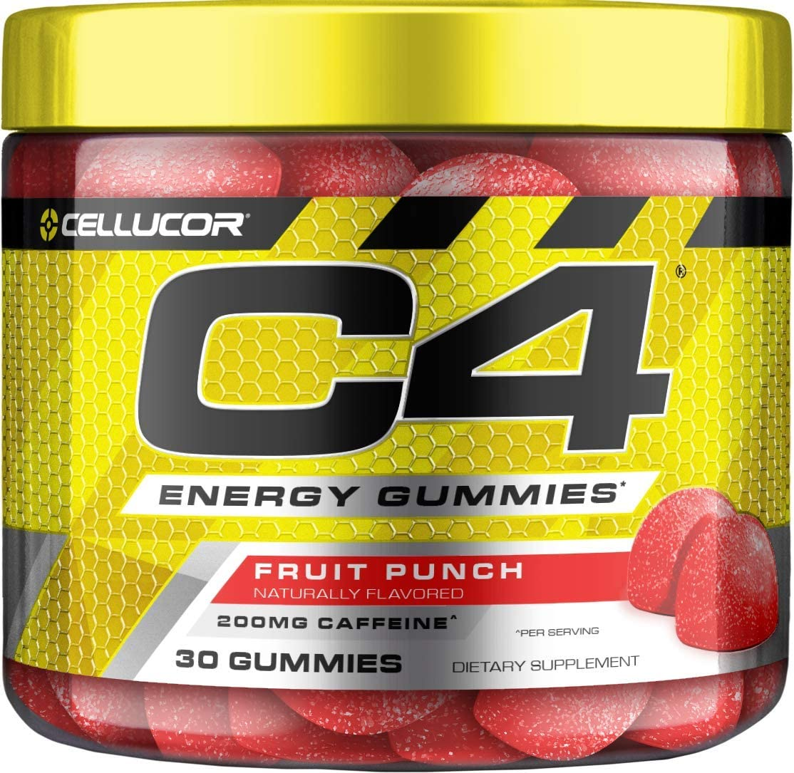 Cellucor C4 Gummies, Daily Pre Workout Energy Gummy Chews with 200mg Caffeine, Energy Booster with Beta Alanine & Fast-Acting Carbohydrates, Fruit Punch, 30 Gummies