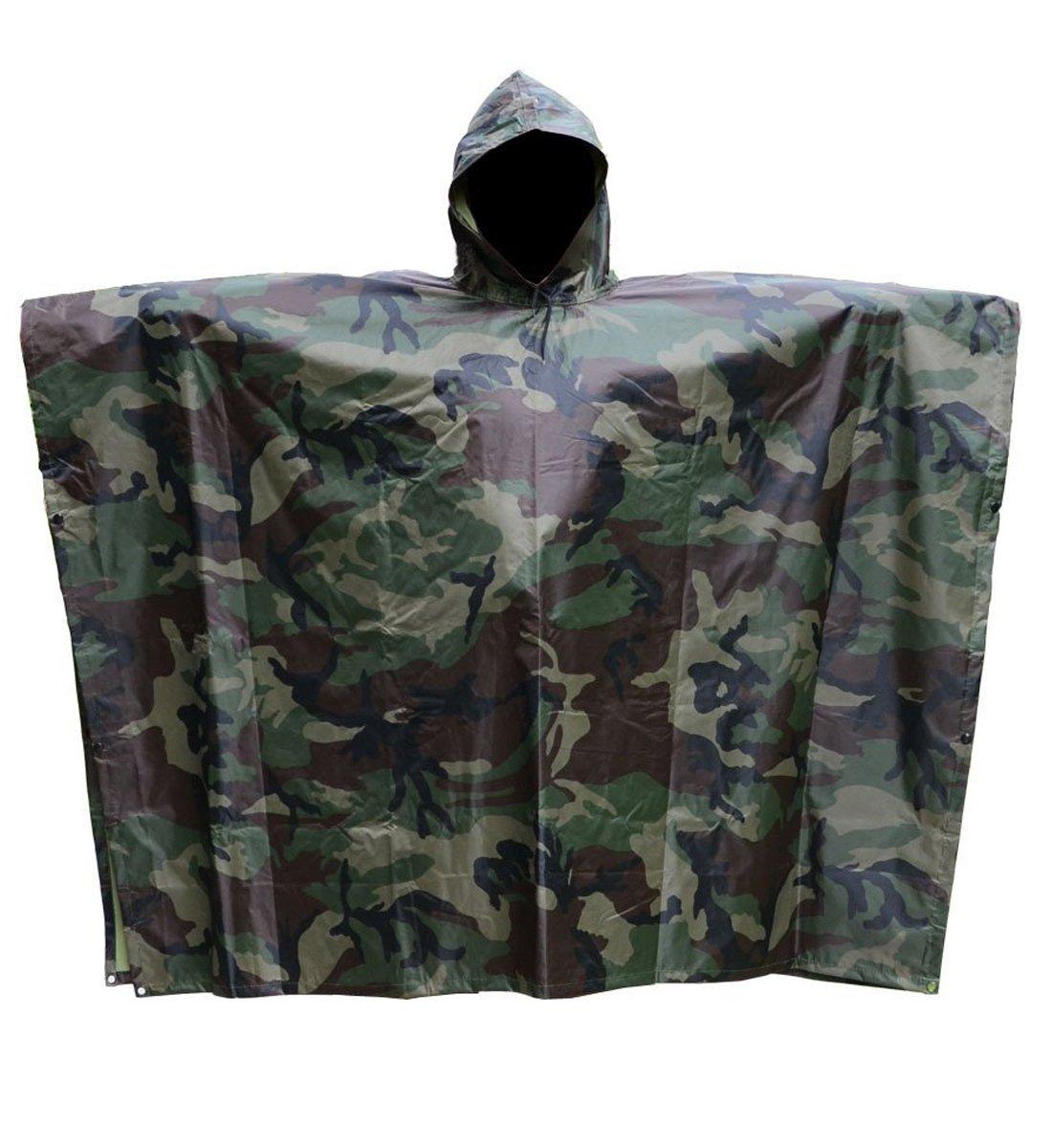 T-wilker 3 in1 Rain Poncho Waterproof Camouflage Ripstop Rain Jacket Batwing-sleeved Rain Coat with Hoods (Camo)