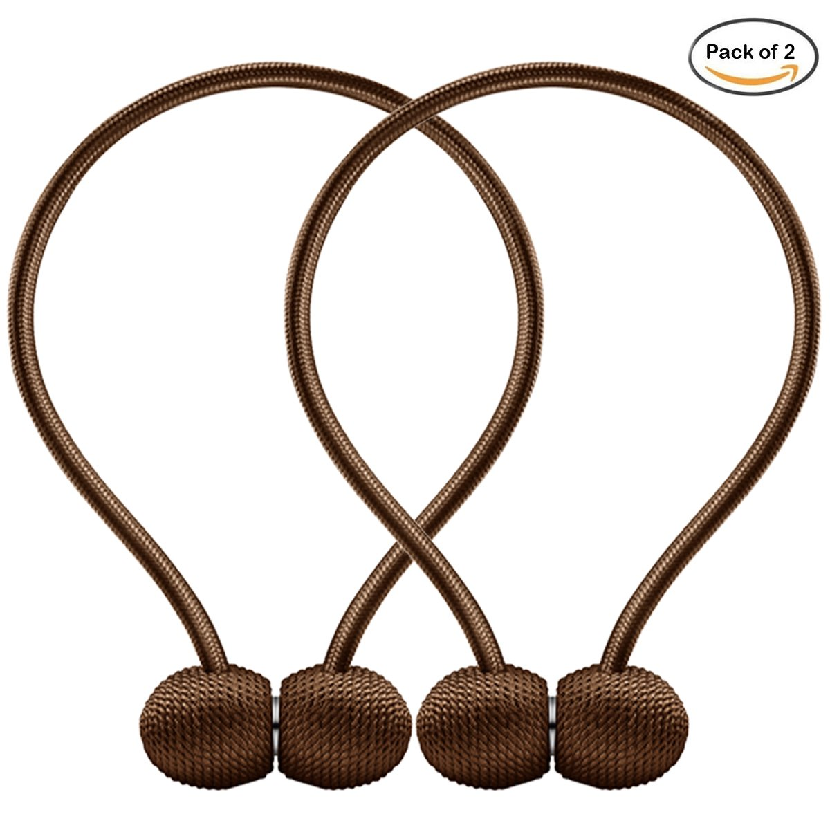 IHC Window Curtain Tiebacks Clips VS Strong Magnetic Tie Band Home Office Decorative Drapes Weave Holdbacks Holders European Style 1 pair (Brown)