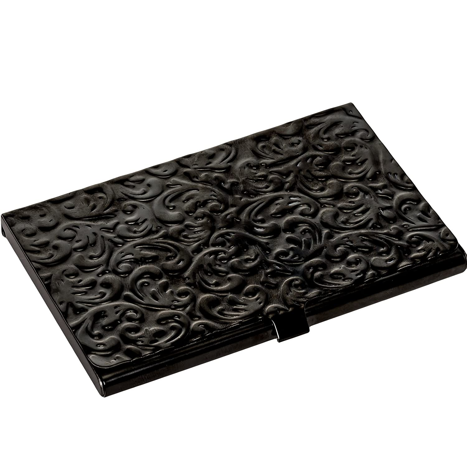metal damask embossed business card case gold tone