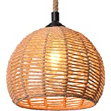 Berlato Coastal Beach Rope Rattan Woven Pendant Lamp, Natural Simple Hand Weaved Dome Pendant Light, Suspension Lamp for…