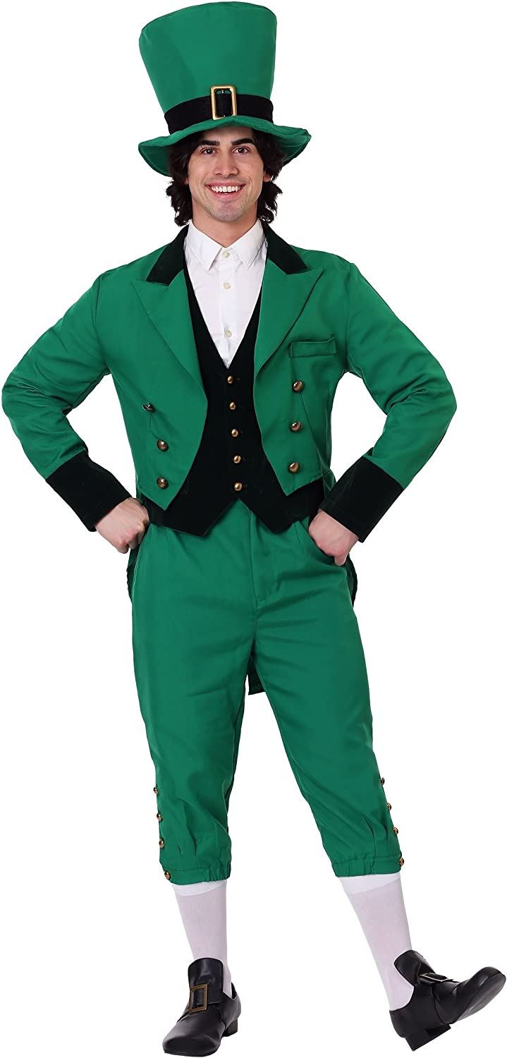 Adult Green Leprechaun Costume for Men St Patricks Day Costume Suit