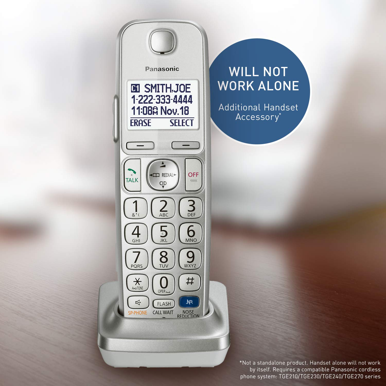 PANASONIC Cordless Phone Handset Accessory Compatible with TGE210/TGE230/TGE240/TGE270 Series Cordless Phone Systems - KX-TGEA20S (Silver)