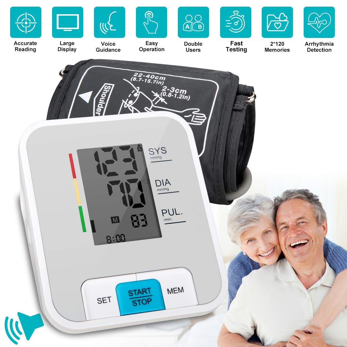 Blood Pressure Monitor Upper Arm, Automatic Digital BP Monitor with Wide Cuff, Large Screen, 240 Reading Memory, Talking Function, Blood Pressure Machine Pulse Rate Monitor for 2 User Adult Home Use
