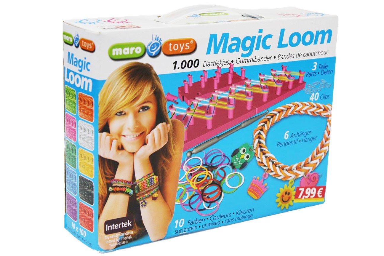 1000 Stück Magic Loom Gummibänder Starter Set Knüpfboard Armband Armbänder Ringe Freundschaftsarmband Geschenkbox Emanhu Trading