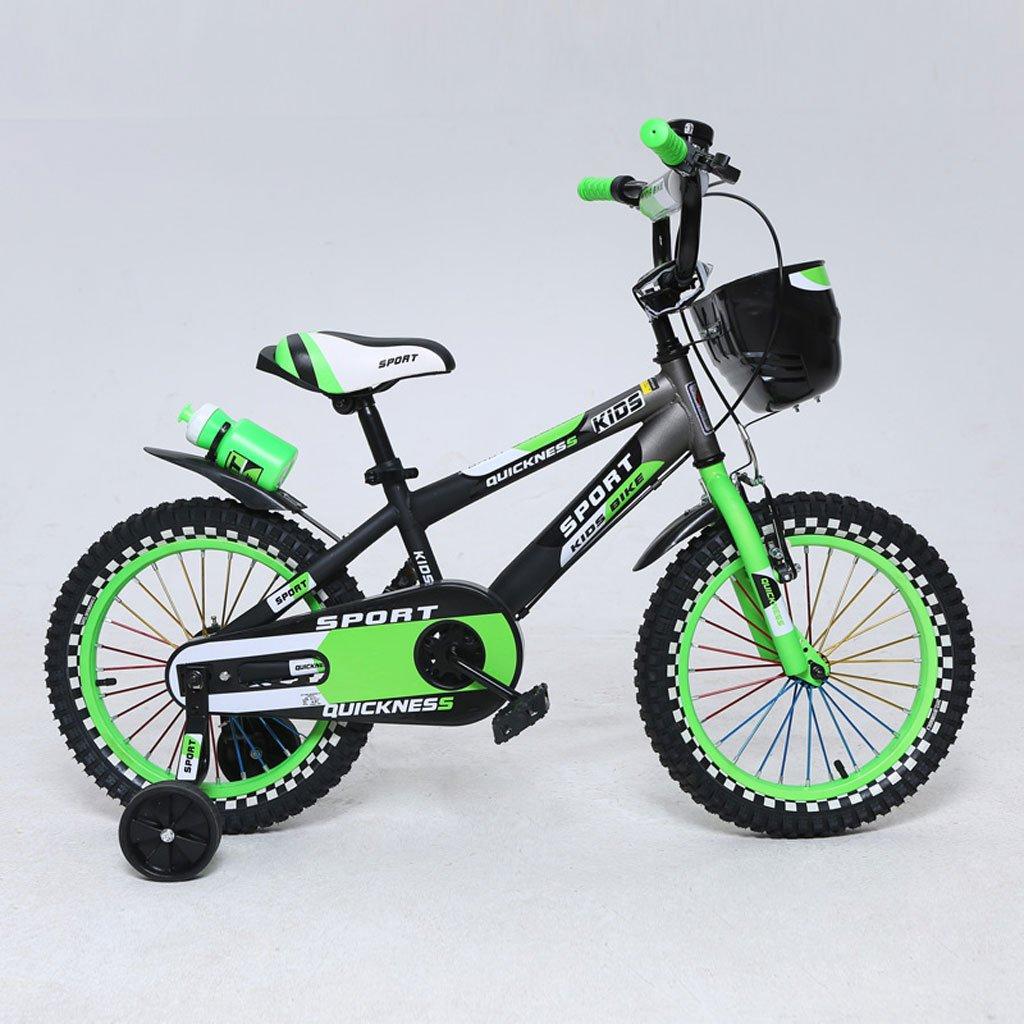 子供用自転車12/14/16インチマウンテンペダル自転車2-4/3-5/4-7歳の子供用ベビーカー高炭素鋼、緑/オレンジ (Color : 16 inch green)  16 inch green B07DNYXKKK