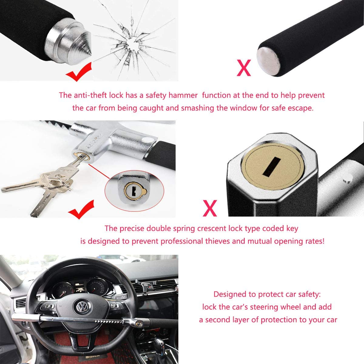 Yaegoo Car Steering Wheel Lock Van and SUV Universal Fit for Car Antitheft Locking Devices with Safety Hammer Light Truck