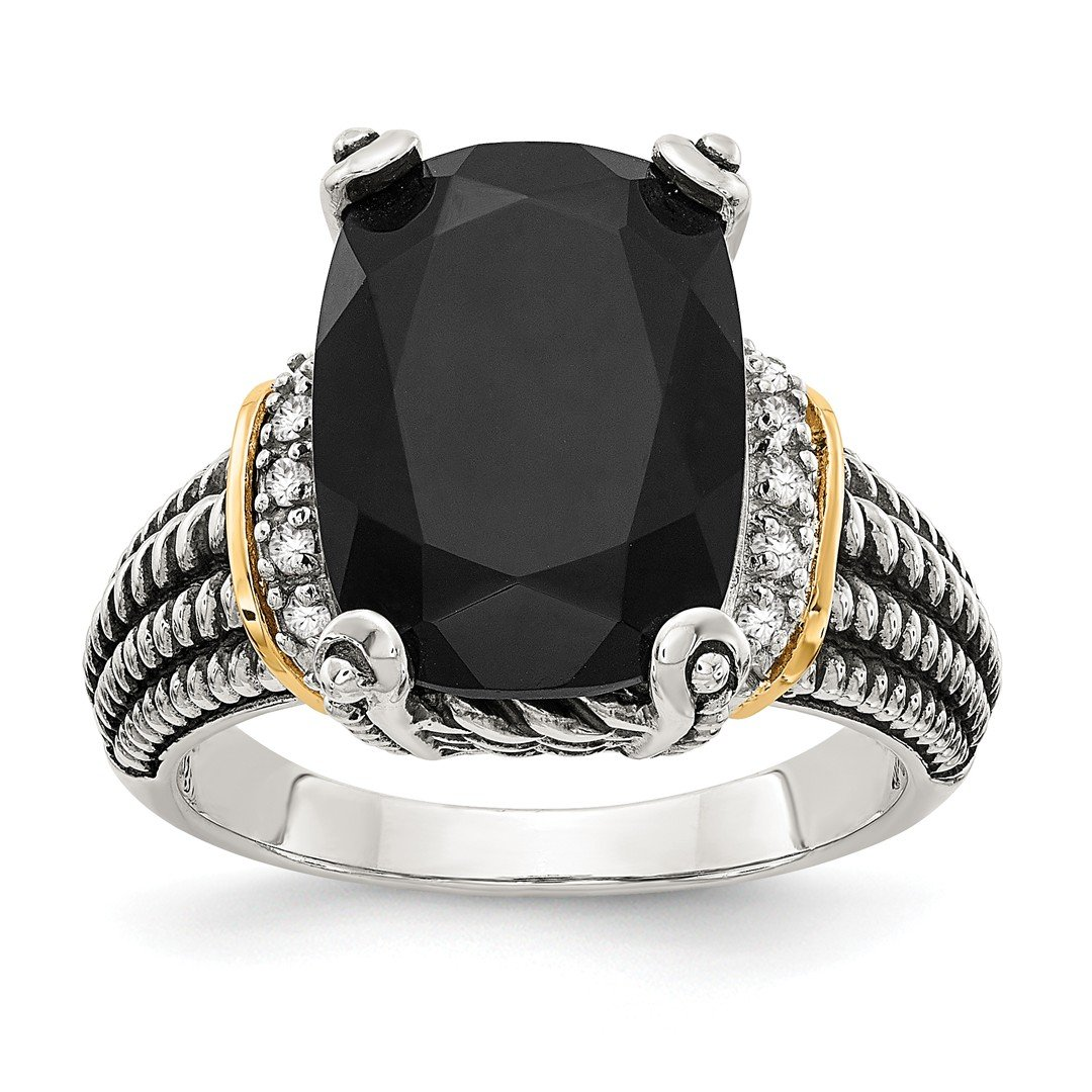 ICE CARATS 925 Sterling Silver 14k Black Onyx White Diamond Band Ring Size 6.00 Natural Stone Fine Jewelry Gift Set For Women Heart