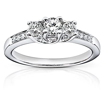 09a5ed60cd2 1 2ctw Three Stone Round Brilliant Diamond Engagement Ring in 14K ...