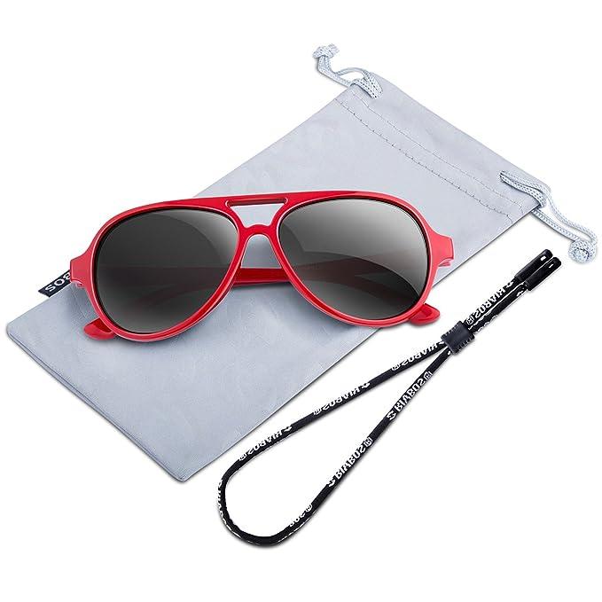 RIVBOS RBK004 Moda Seguro Unisex Gafas de Sol Para Bebe y Niño Wayfarer Marco Flexible Lentes Polarizadas para niños y niñas Edad 4-8 Rojo: Amazon.es: Ropa ...