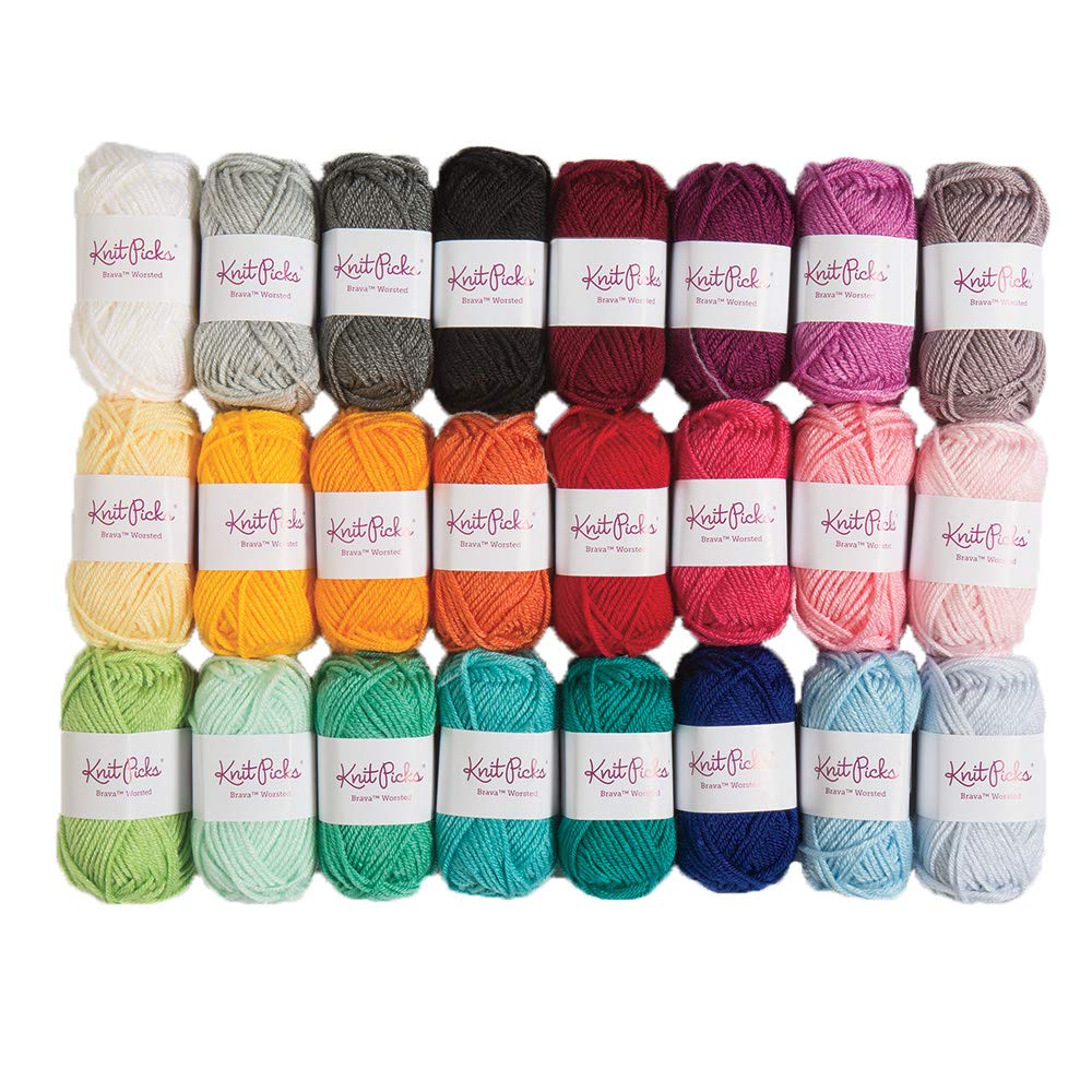 Knit Picks Brava Mini Pack Worsted Premium Acrylic Yarn - 24 Pack (25g Minis, Rainbow)