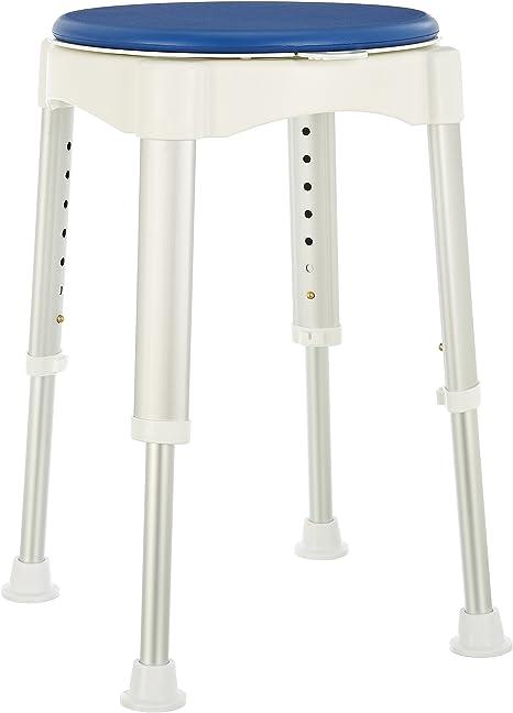 PrimeMatik Tabouret rond de douche r/églable en hauteur 32cm