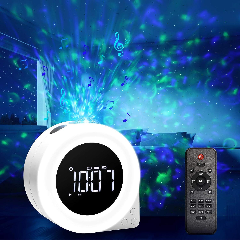 VOLADOR 6 in 1 Proyector de Luz Estelar/LED Despertadores Digitales/Altavoz inalámbrico con Bluetooth/Lámpara Luces Nocturnas/Máquina de Ruido Blanco con Control Remoto y Temporizador