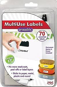 Jokari Label Once Erasable Multi-Use Labels Starter Kit with 70 Labels Eraser and Pen