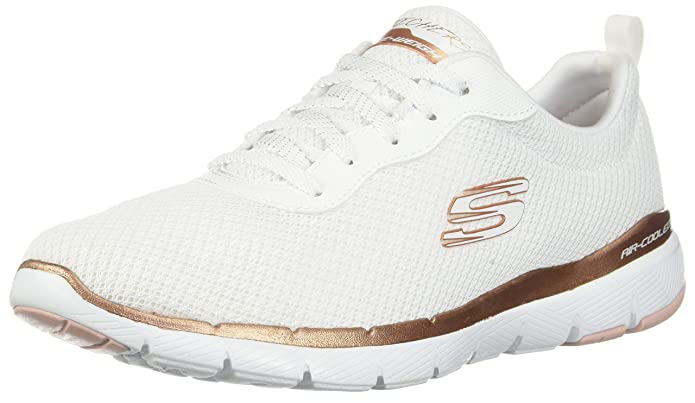 Skechers Flex Appeal 3.0 Sneakers Damen Weiß/Gold (White Mesh/Rose Gold)