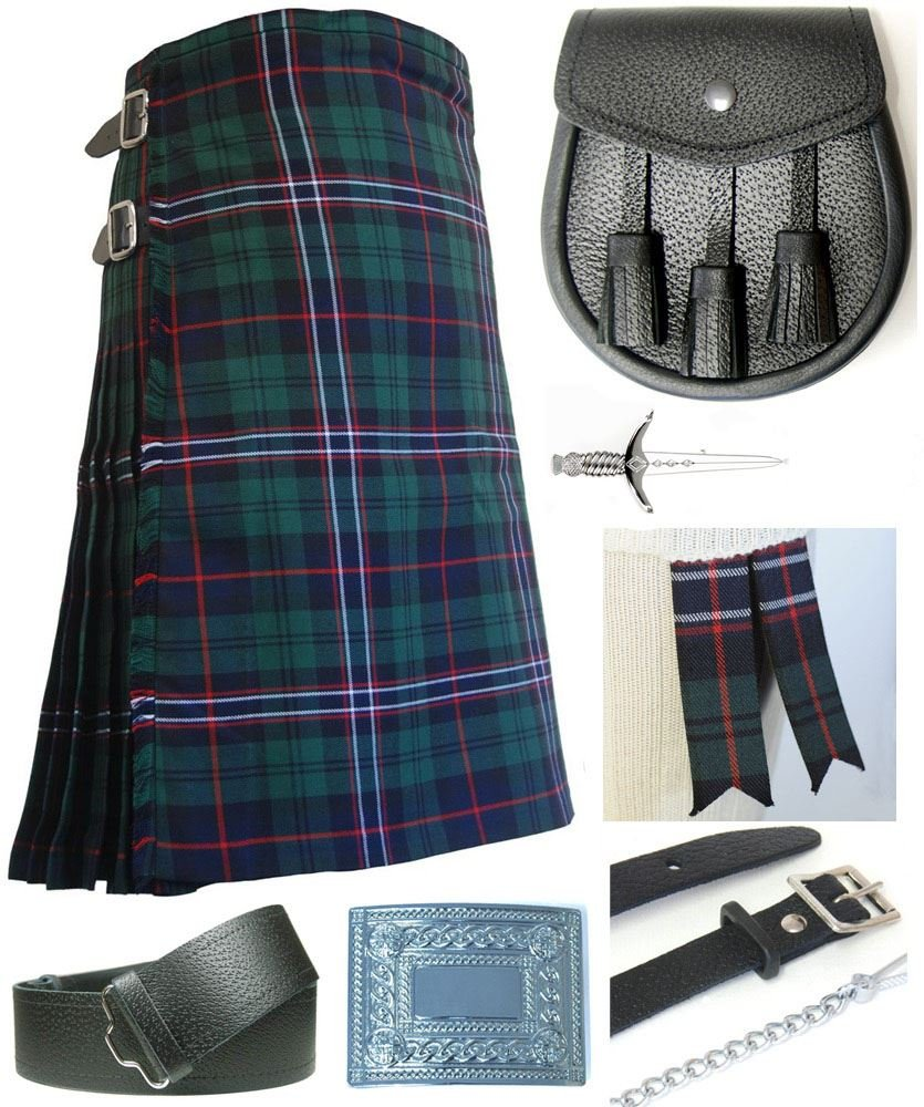 Mens Scottish National Tartan 7 Piece Casual Kilt Outfit Size: 46'' - 48''