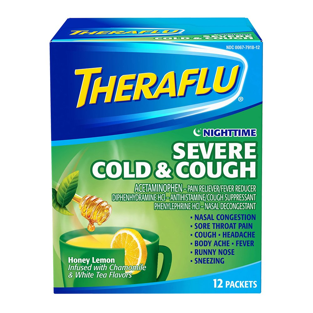 Theraflu Nighttime Severe Cold & Cough Relief Medicine Powder, Honey Lemon, Chamomile, and White Tea Flavors, 12 Packets by Theraflu