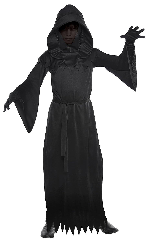 Adult FACELESS REAPER Grim Halloween Horror Scary Fancy Dress Costume Dark Robe