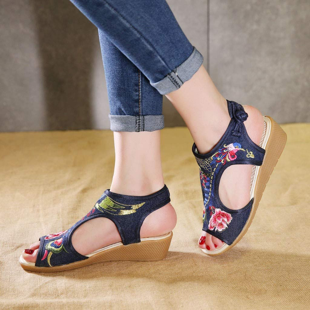 Lurryly Womens Ankle Open Toe Sandals Wedge with Fish-Mouth National Wind Embroidered Shoes
